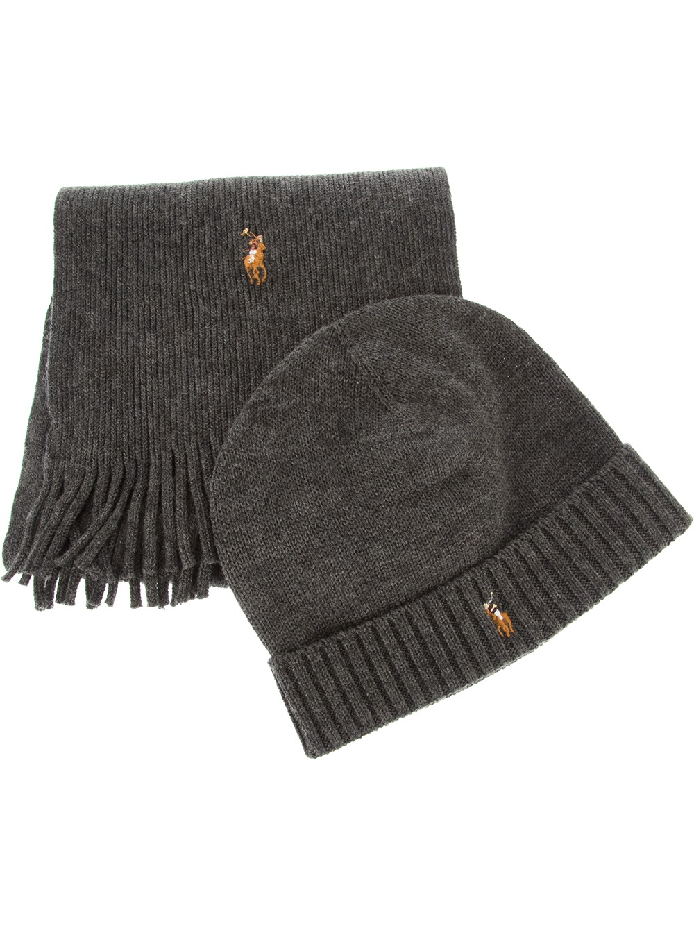 951fbbace4461 ... usa lyst polo ralph lauren ribbed scarf and hat set in gray for men  f7de7 2cfdf