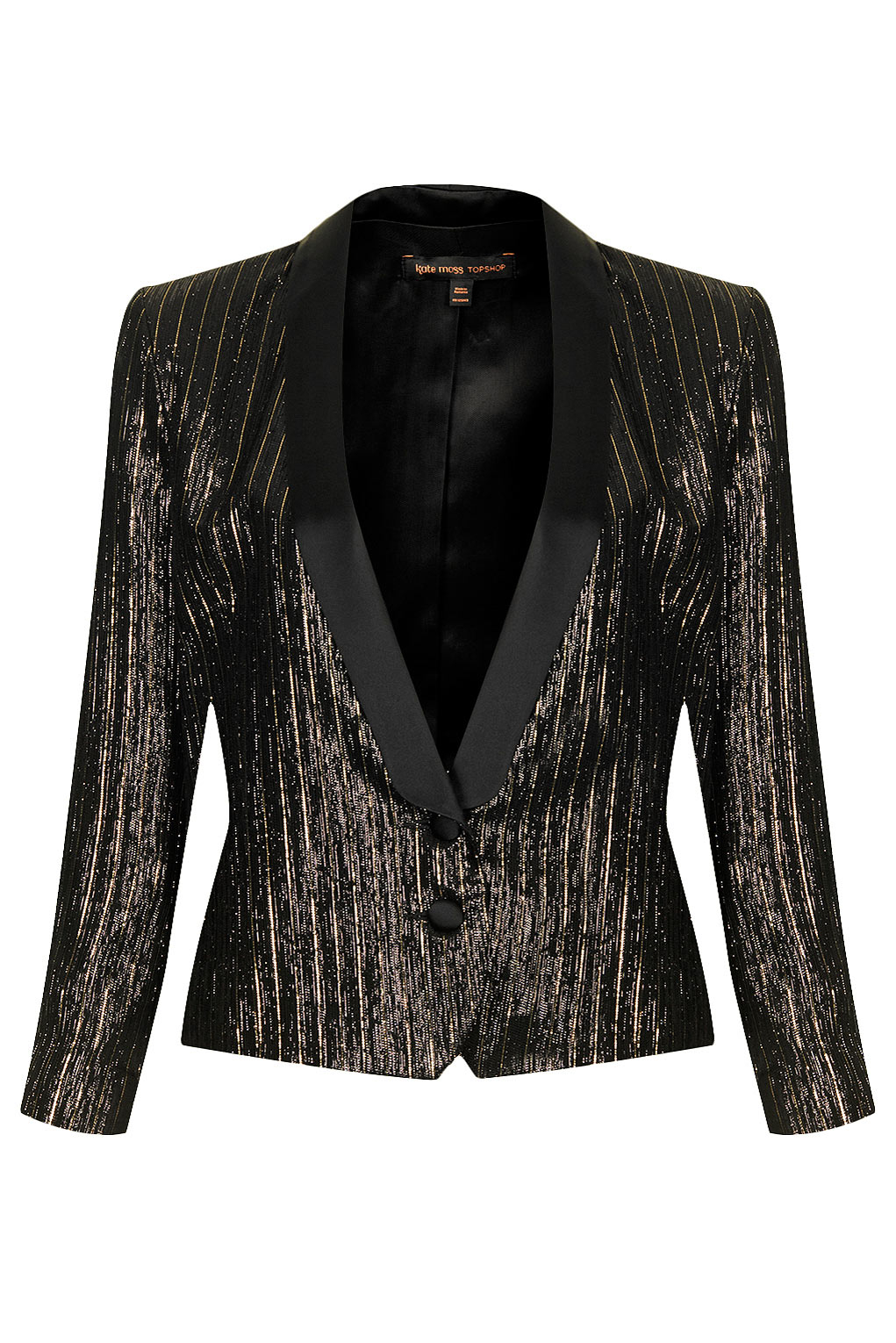 Lyst - TOPSHOP Womens Lamé Tuexdo Suit Jacket By Kate Moss For Gold ... 1a192ba5a4