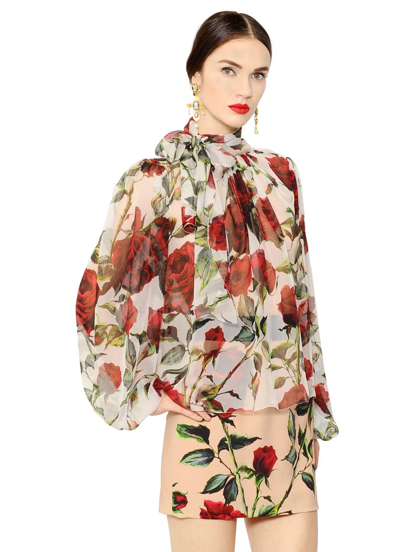 d2cd5f1e645ff6 Lyst - Dolce   Gabbana Rose Printed Sheer Silk Chiffon Shirt in Green
