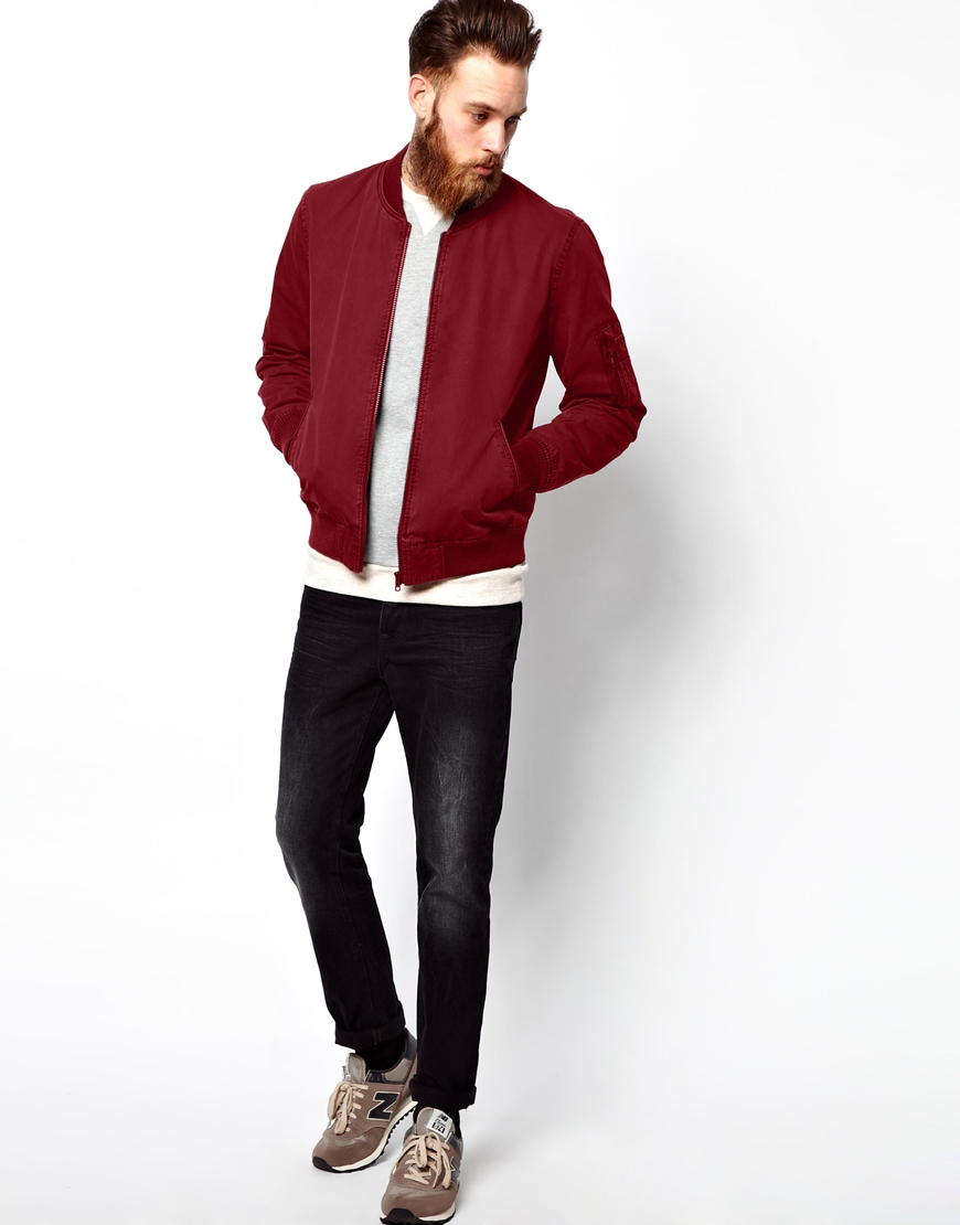 Asos Fitted Cotton Bomber Jacket in Red for Men | Lyst