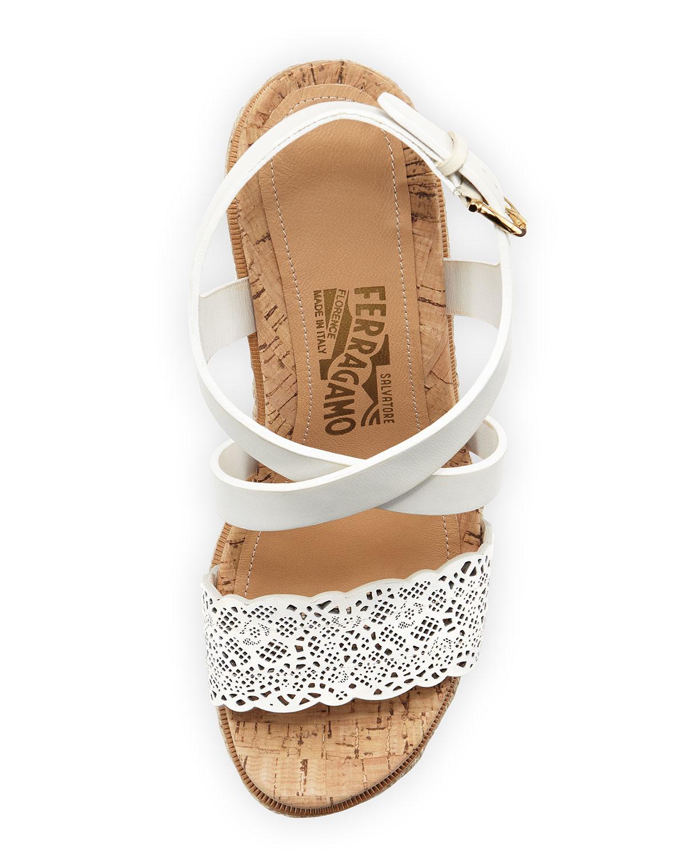 c5cd2eb49bd Lyst - Ferragamo Gioela Espadrille Wedge Sandal in White