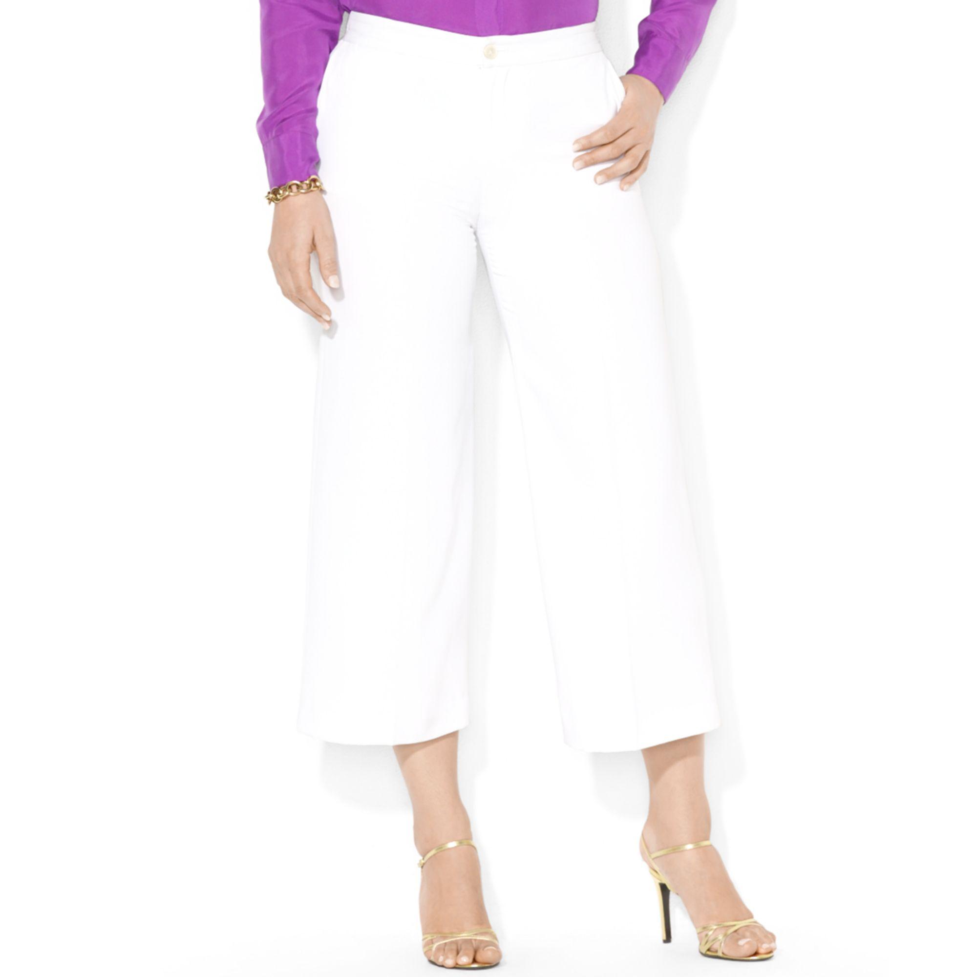 Lyst - Lauren by Ralph Lauren Plus Size Cropped Wideleg Pants in White 62e99543094