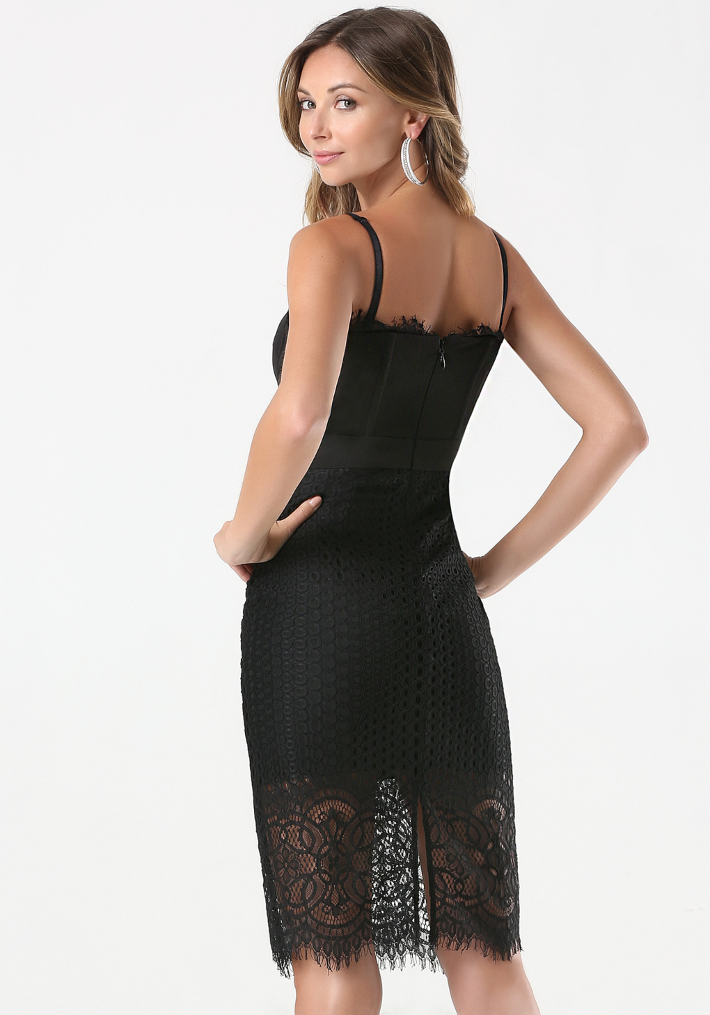 Bebe Lace Strapless Midi Dress In Black Lyst