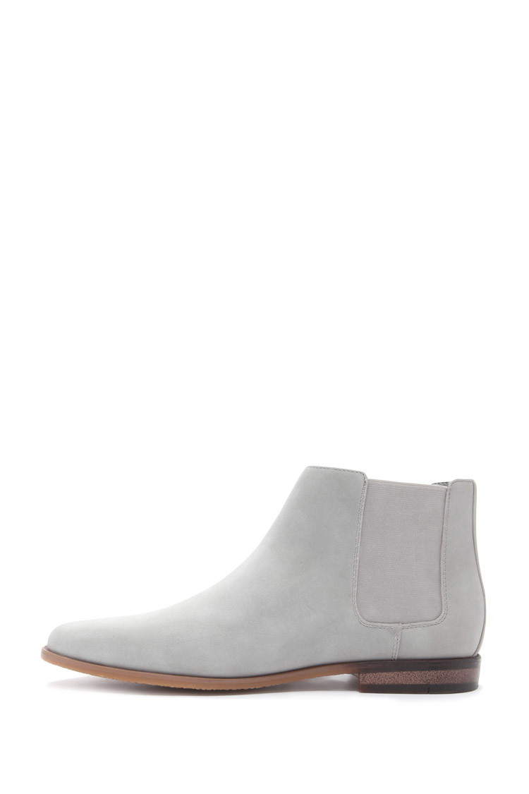forever 21 faux suede chelsea boots in gray for lyst