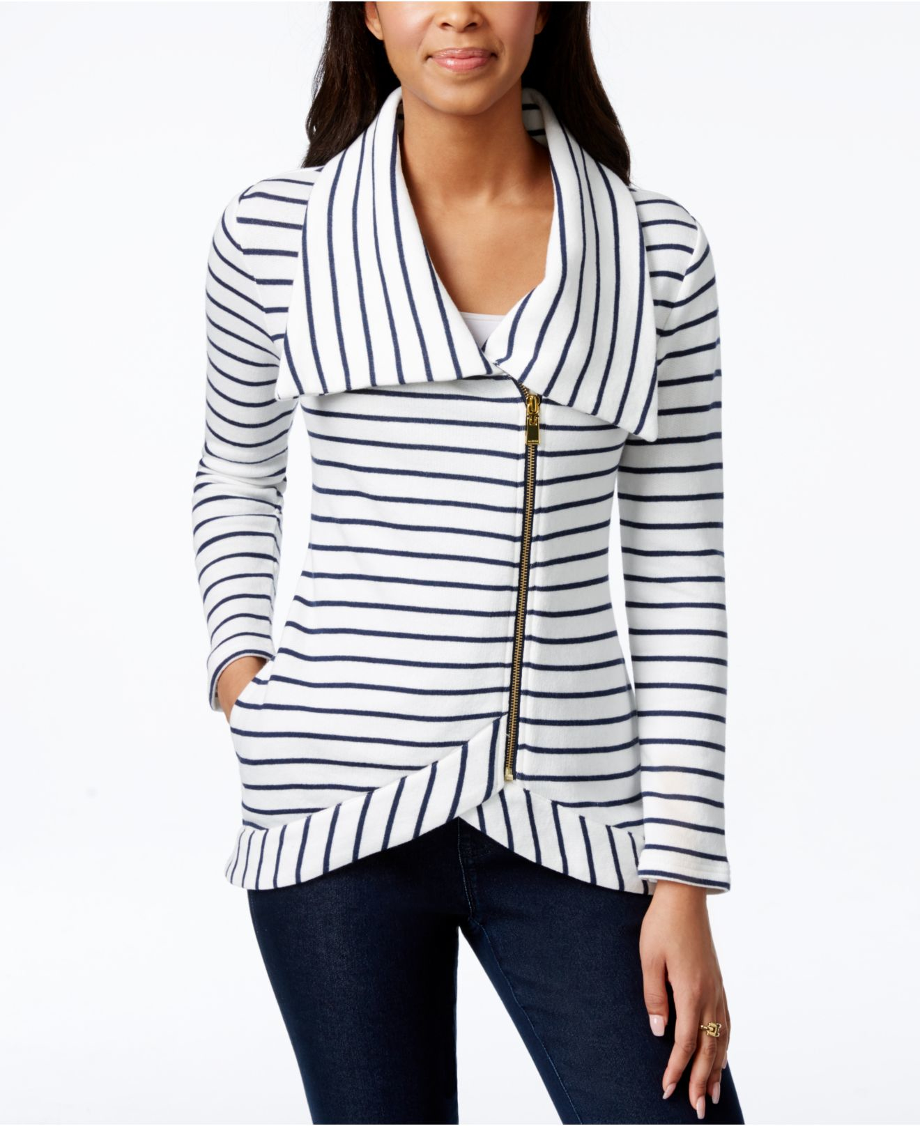 Lyst - Tommy Hilfiger Felina Striped Asymmetrical-zip Jacket in White 060ddc92dc