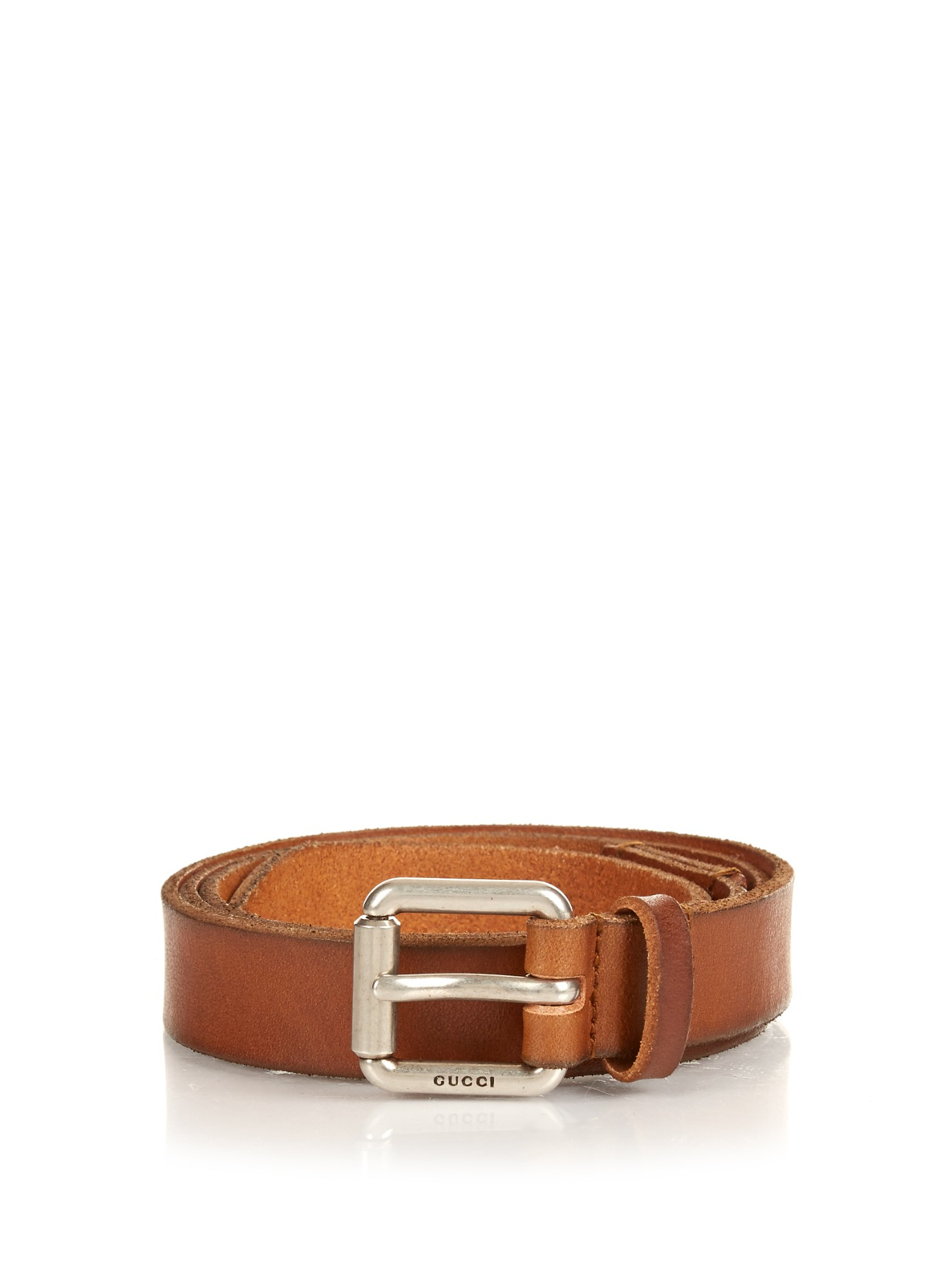 gucci slim leather belt in brown for lyst