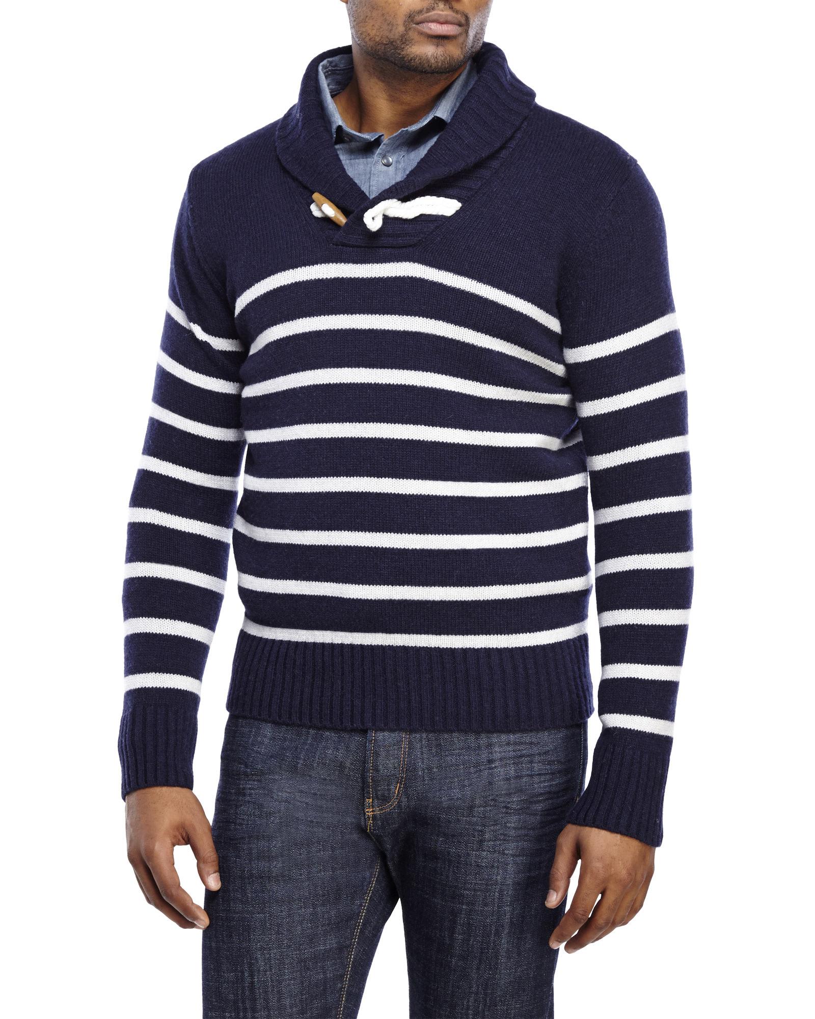 Barque Navy Stripe Shawl Collar Wool Sweater in Blue for Men | Lyst
