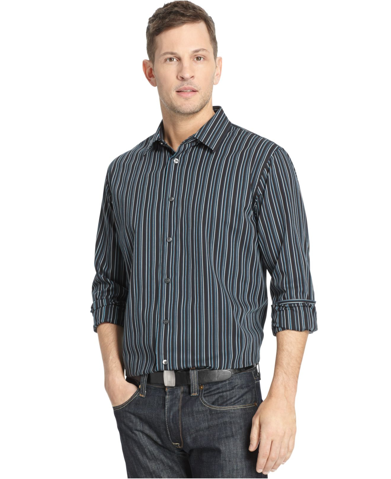 Lyst Van Heusen Big And Tall Long Sleeve Night Stripe Dress Shirt