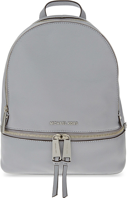 3a2411ff13c99 ... inexpensive lyst michael michael kors rhea medium leather backpack in  gray debde 0216b
