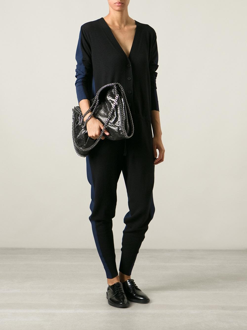 e8536c8bbc3a Lyst - Stella McCartney Falabella Python Effect Tote Bag in Black