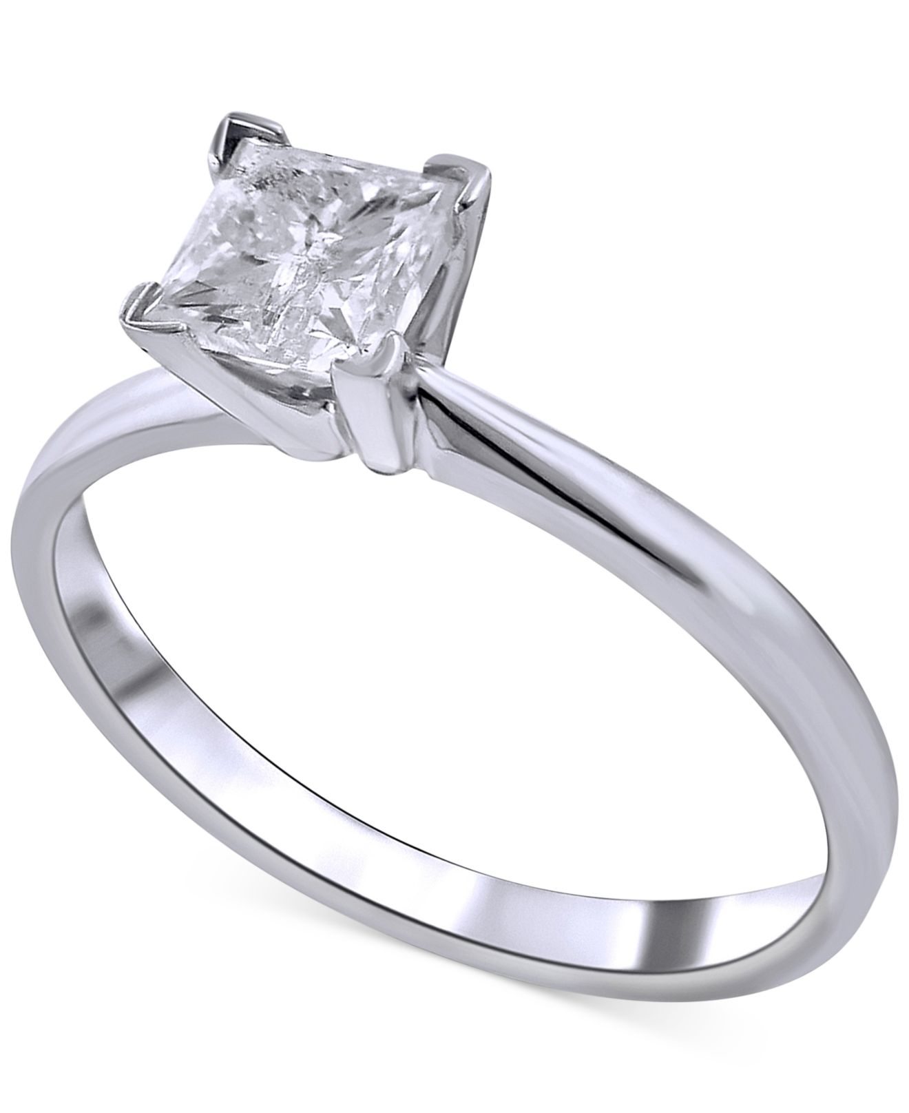 Macy s Diamond Solitaire Engagement Ring 1 Ct T w In 14k White Gold i