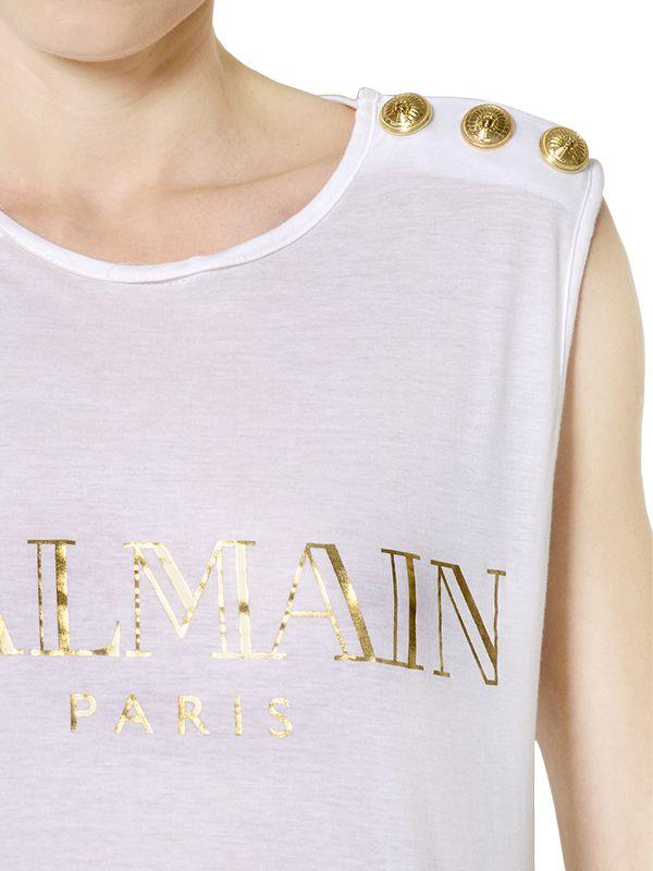 Balmain logo printed cotton t shirt in white lyst for Balmain white logo t shirt