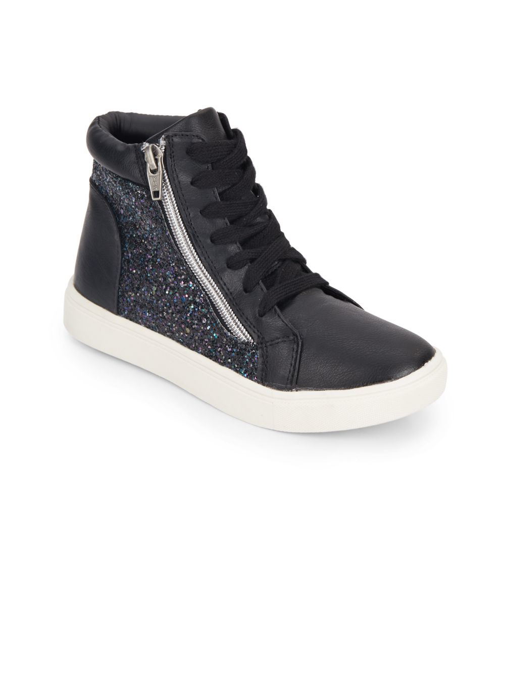 e7ba4a560bc Lyst - Steve Madden Girl s Glitter Faux Leather High Top Sneakers in ...