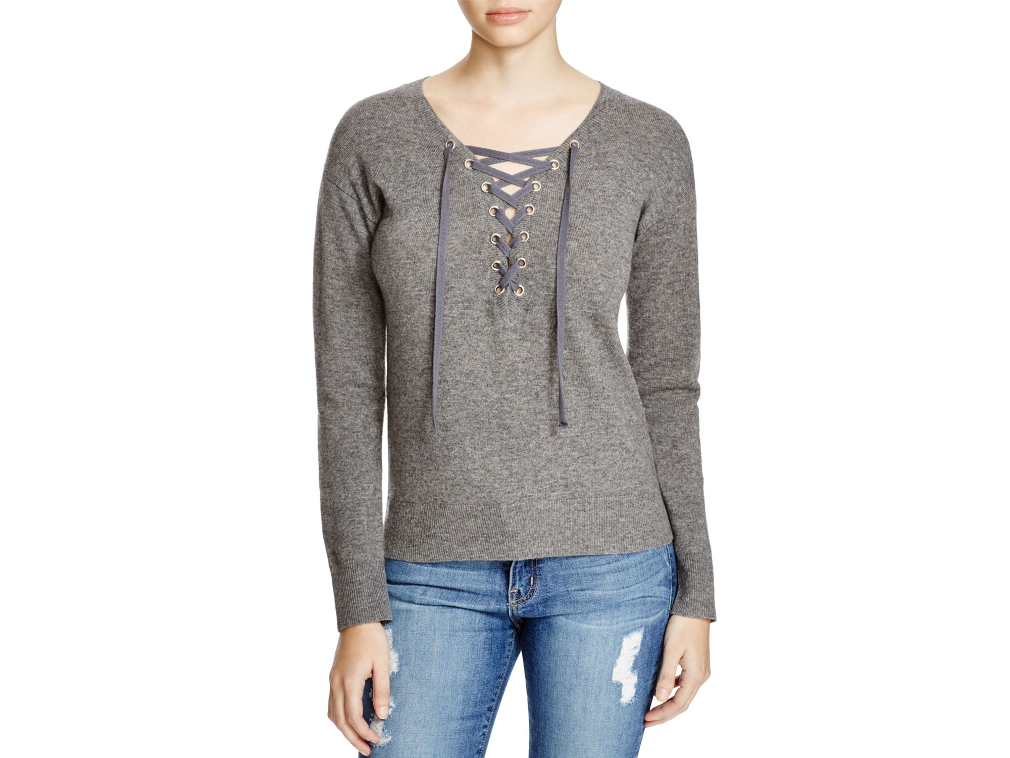 Aqua Lace-up Sweater in Gray | Lyst