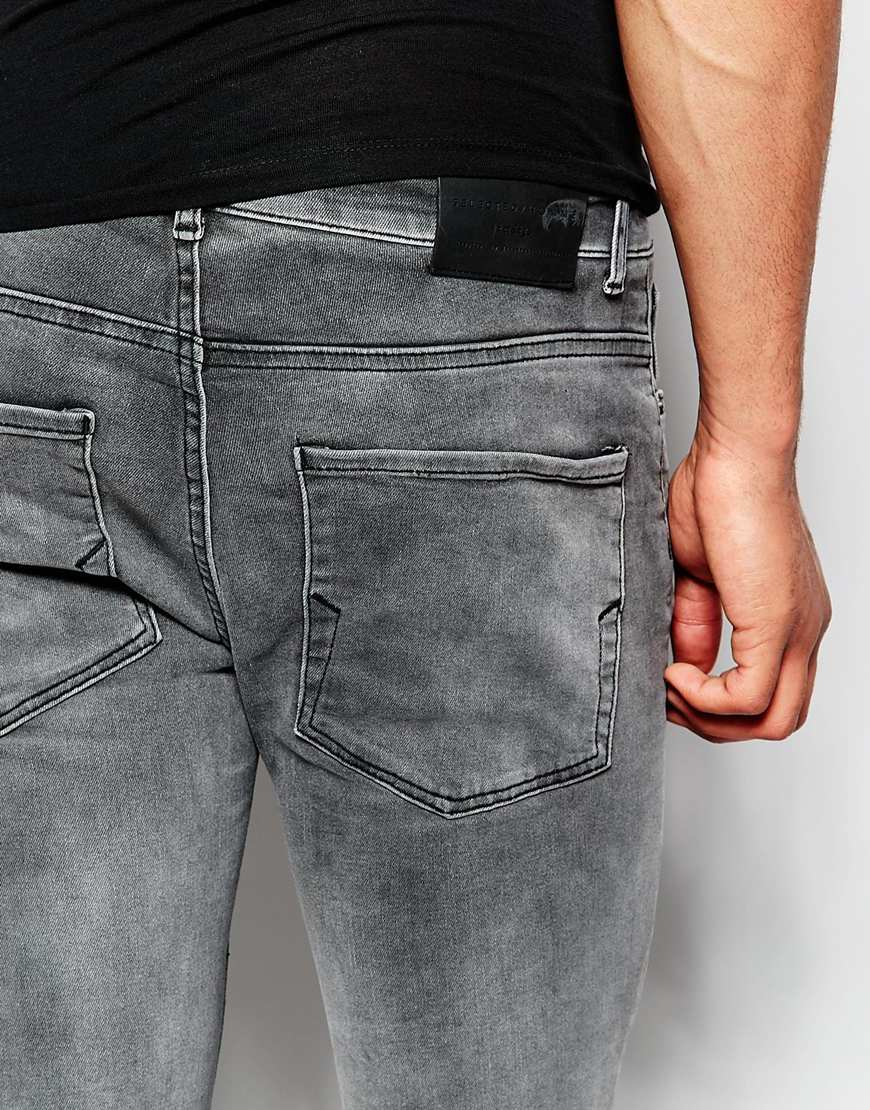 selected washed grey jeans in skinny fit in gray for men lyst. Black Bedroom Furniture Sets. Home Design Ideas