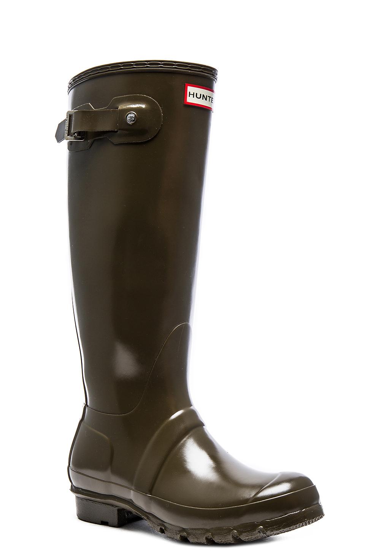 Hunter Original Tall Gloss Rain Boot in Green | Lyst