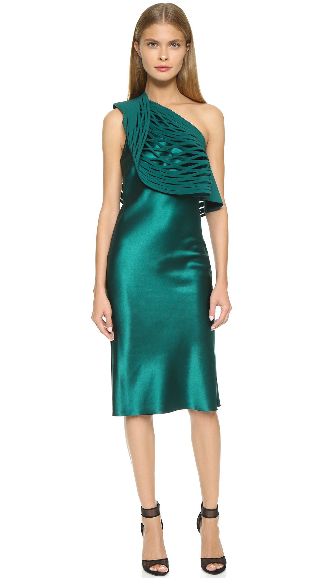 Lyst - Dion Lee Circle Cut Slip Dress - Emerald in Green