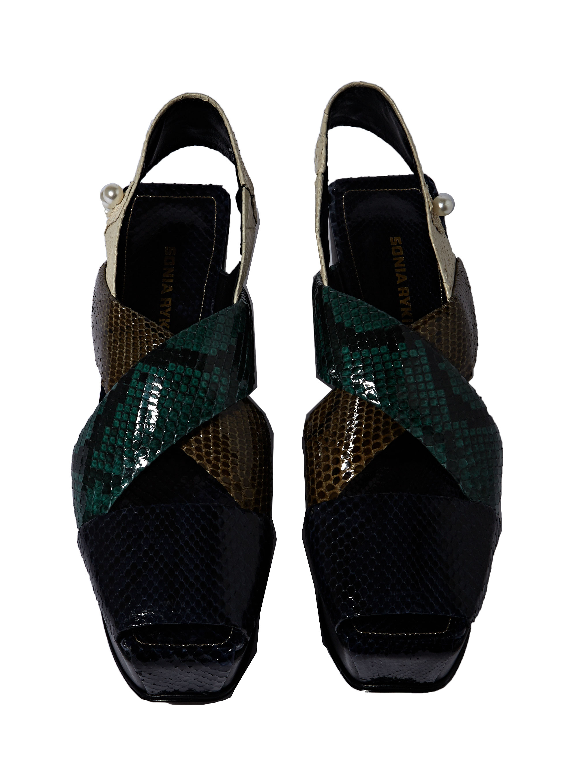 Lyst Sonia Rykiel Womens Python Plateau Sandals In Green