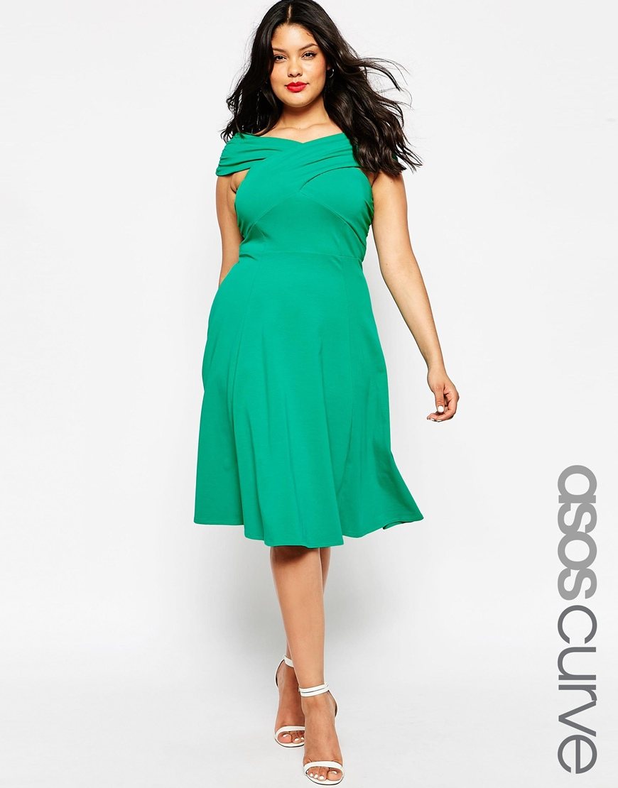 Lyst - ASOS Curve Midi Skater Dress With Bardot Cross Front in Green cc594e9e6