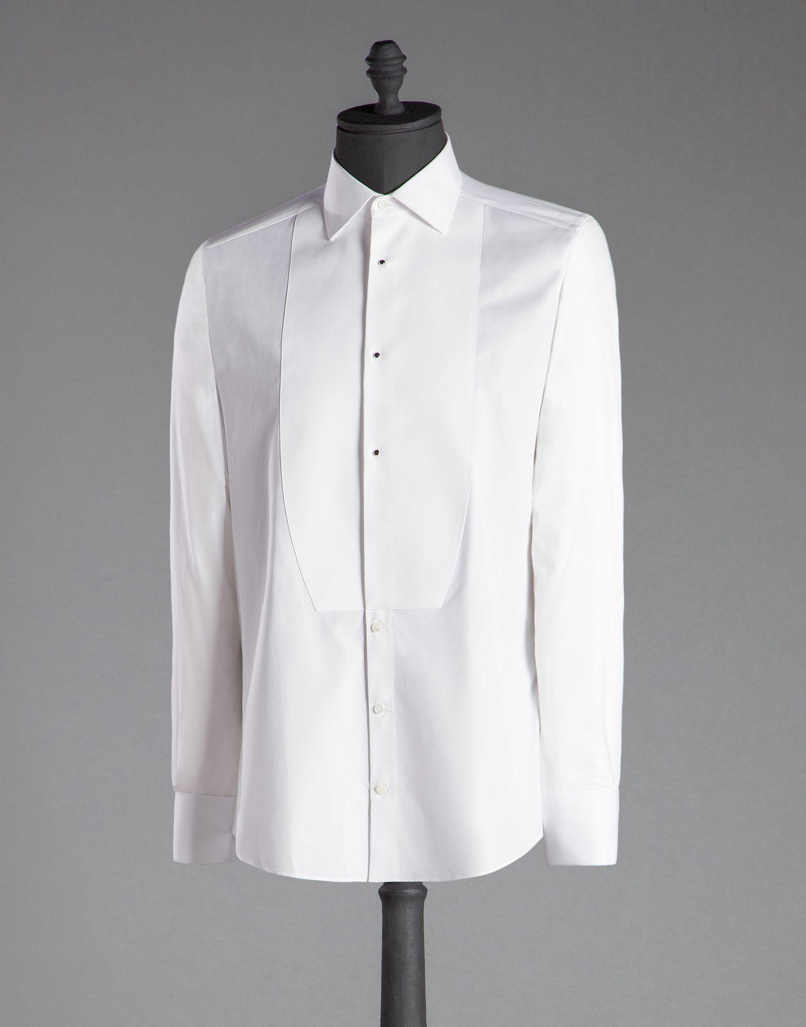 Dolce Amp Gabbana Gold Fit Tuxedo Shirt In Cotton Poplin In