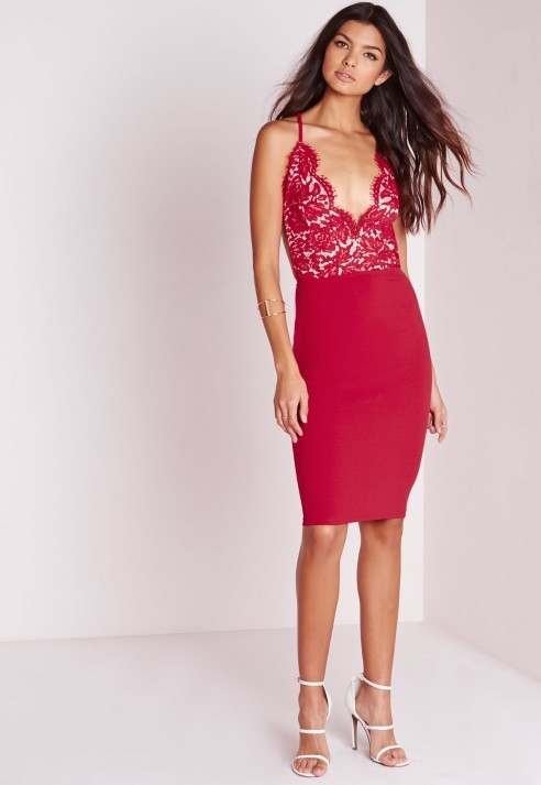 Red lace dress missguided