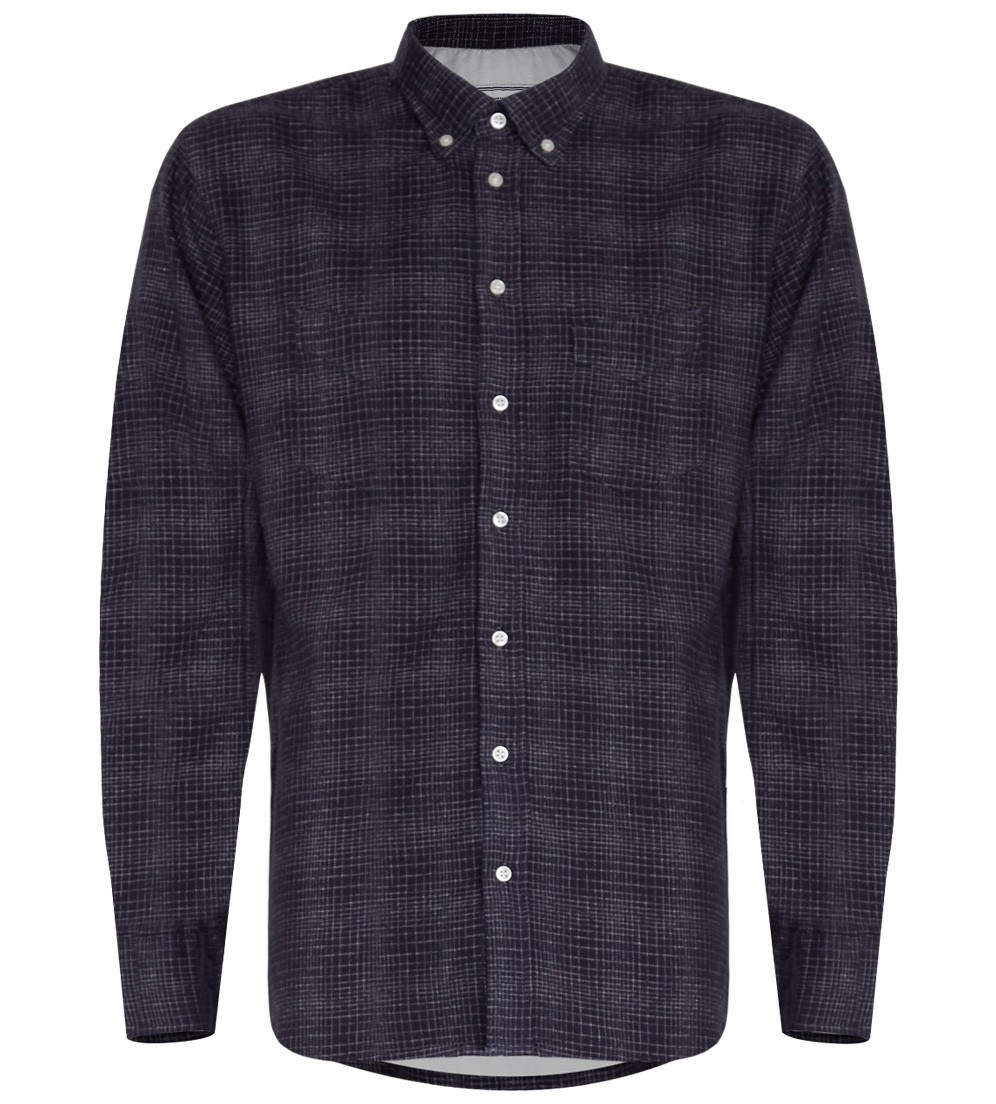 Officine generale plaid shirt in navy in blue for men lyst for Navy blue plaid shirt