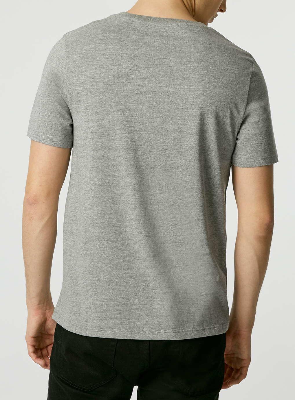 Topman grey v neck slim fit t shirt in gray for men mid for Slim v neck t shirt