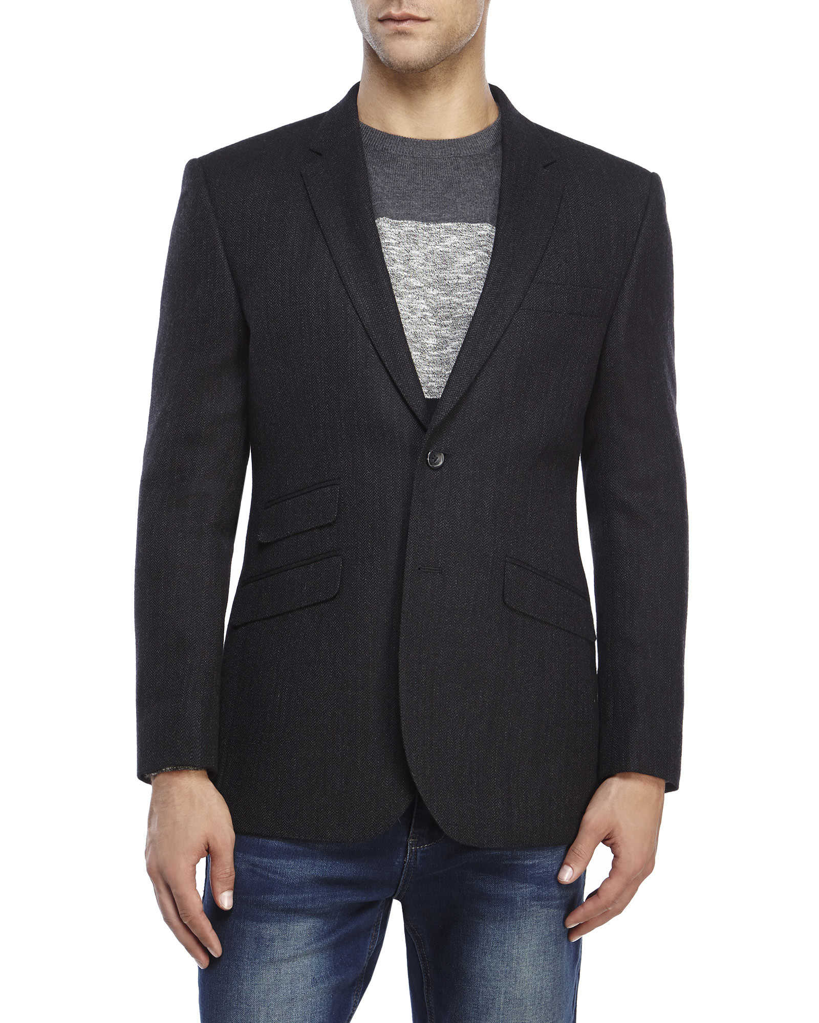English laundry Tweed Sport Coat in Black for Men | Lyst