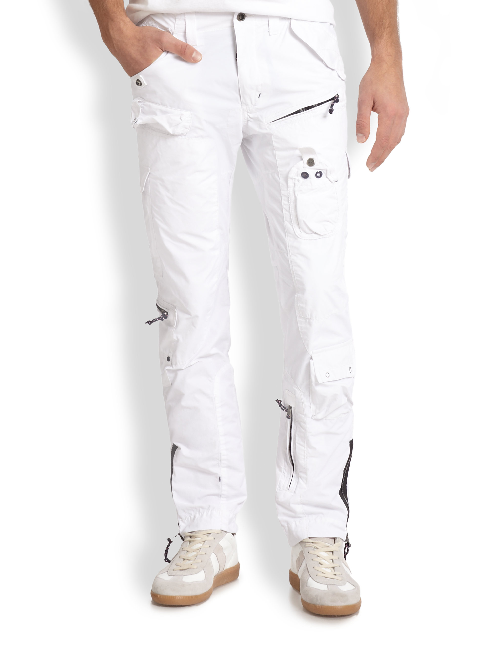 white cargo pants lyst rlx ralph search rescue cargo in white 28642