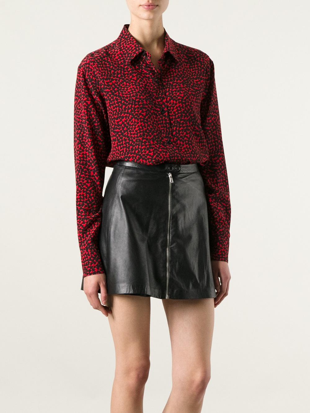 Saint laurent heart print shirt in red lyst for Saint laurent shirt womens