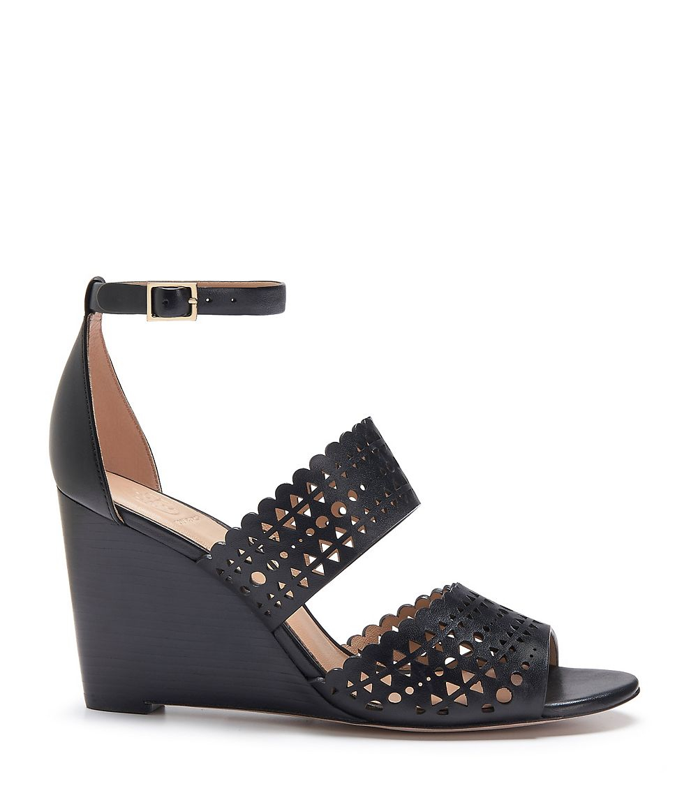 e301afc585b0c Lyst - Tory Burch Perforated Gladiator Wedge in Black