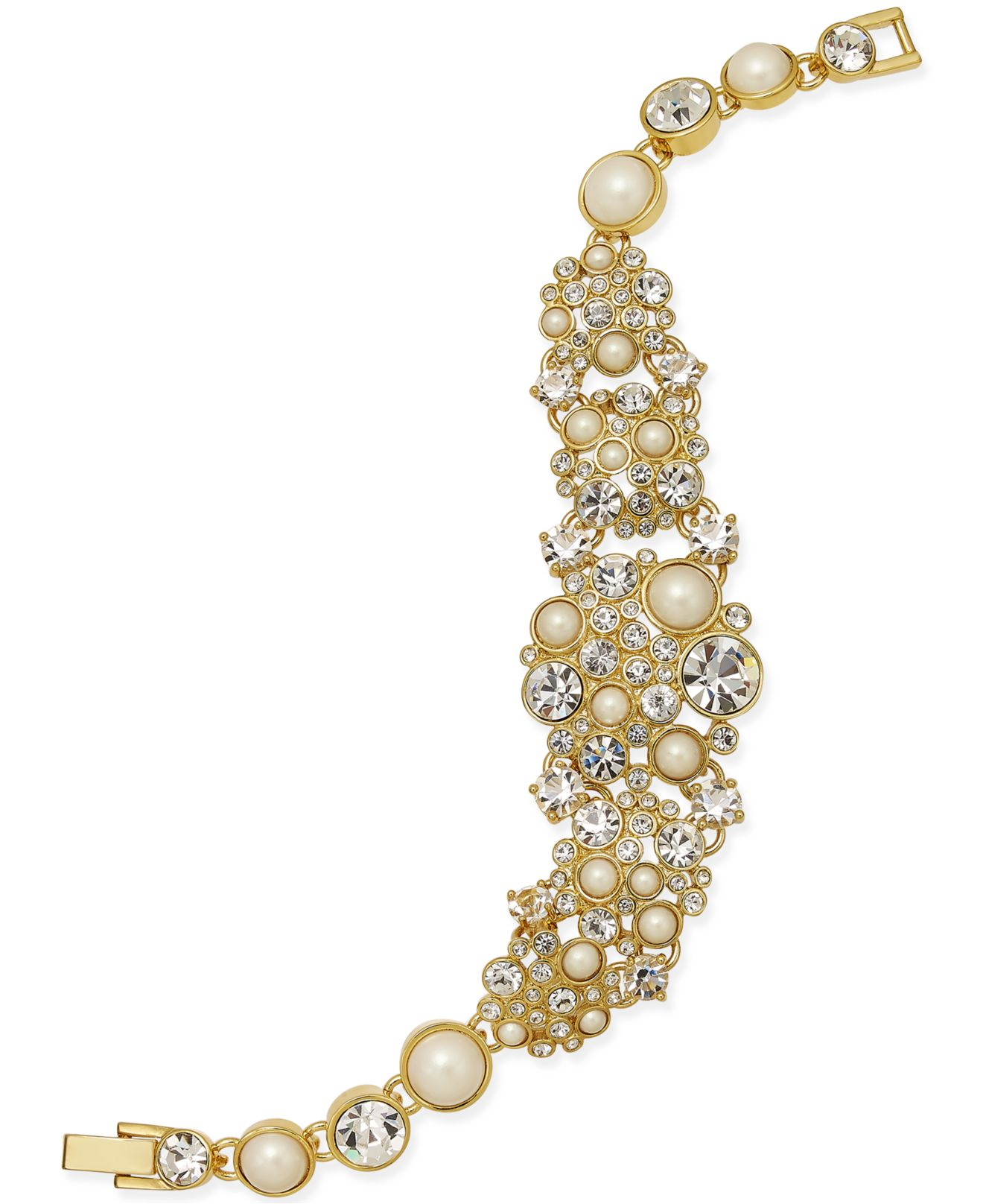 Lyst - Kate Spade Gold-tone Imitation Pearl And Crystal Bracelet in ... 7bc9ce8161