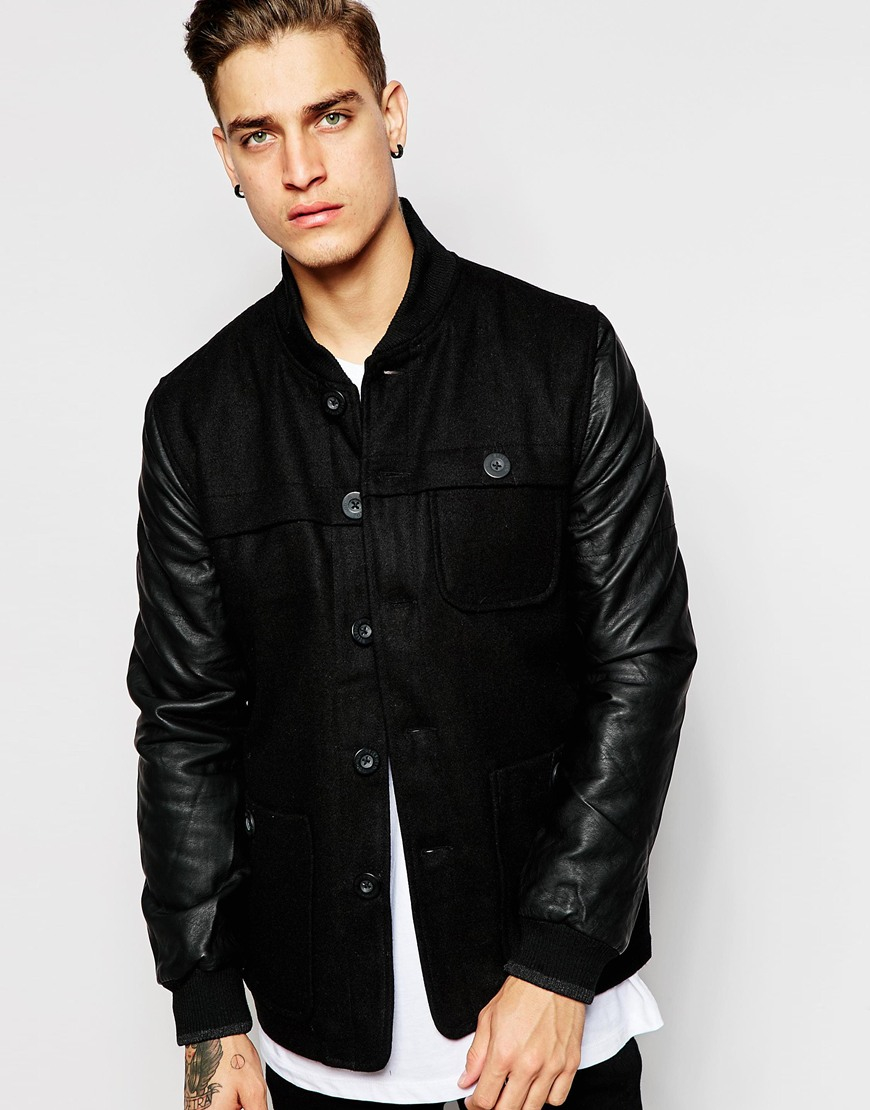 Leather Sleeve Bomber Jacket Mens - JacketIn