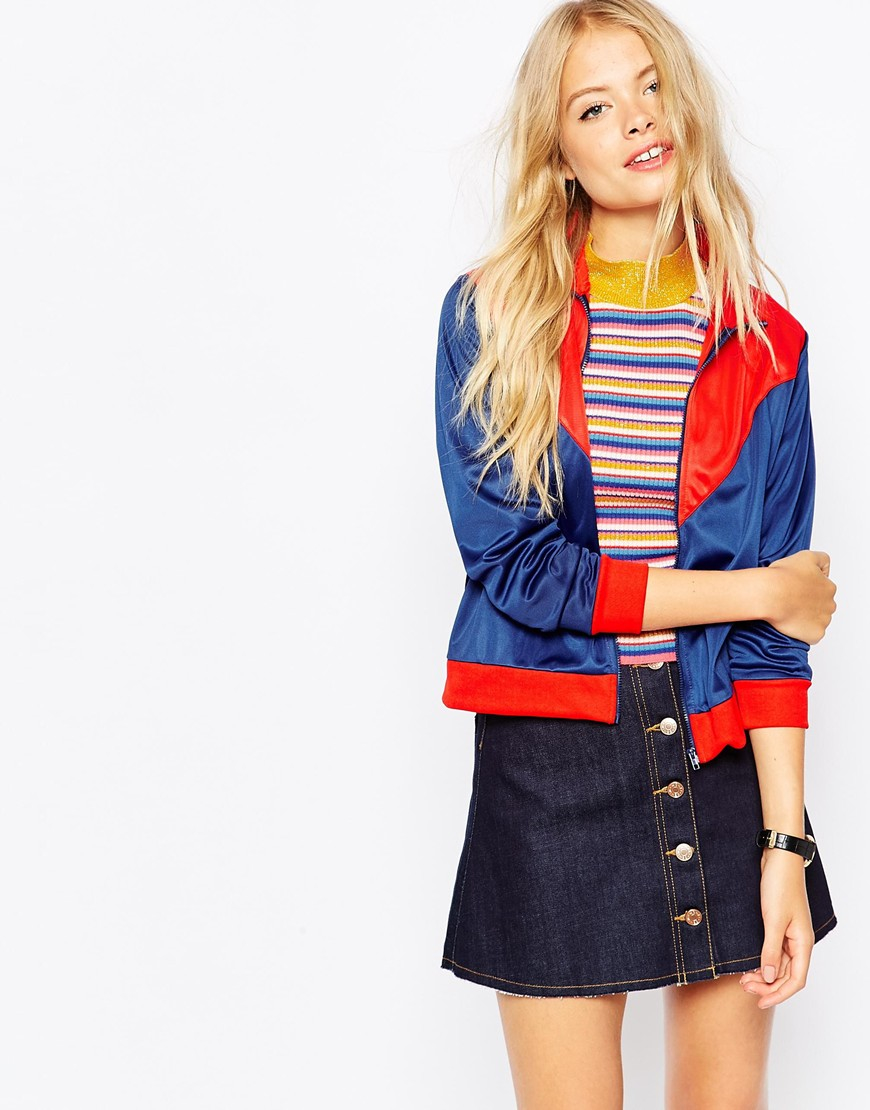 Monki Color Block Bomber Jacket in Blue | Lyst