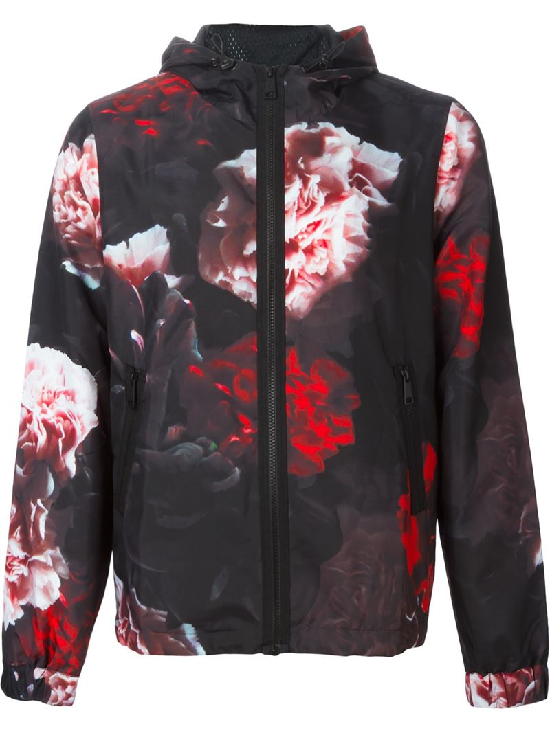 Ami Rose Print Hooded Jacket In Red For Men Lyst