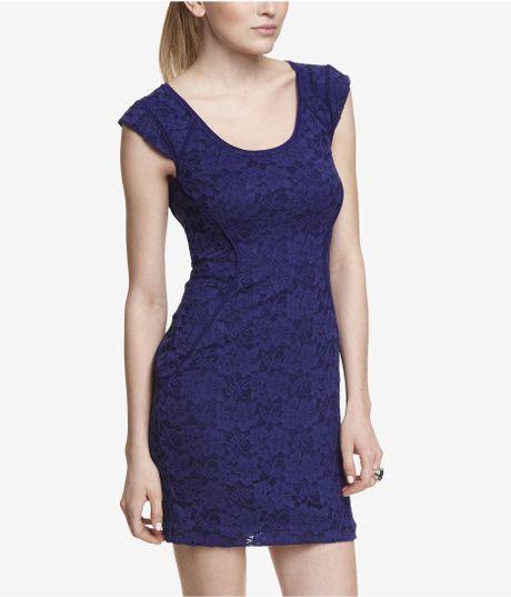 Express blue lace dress
