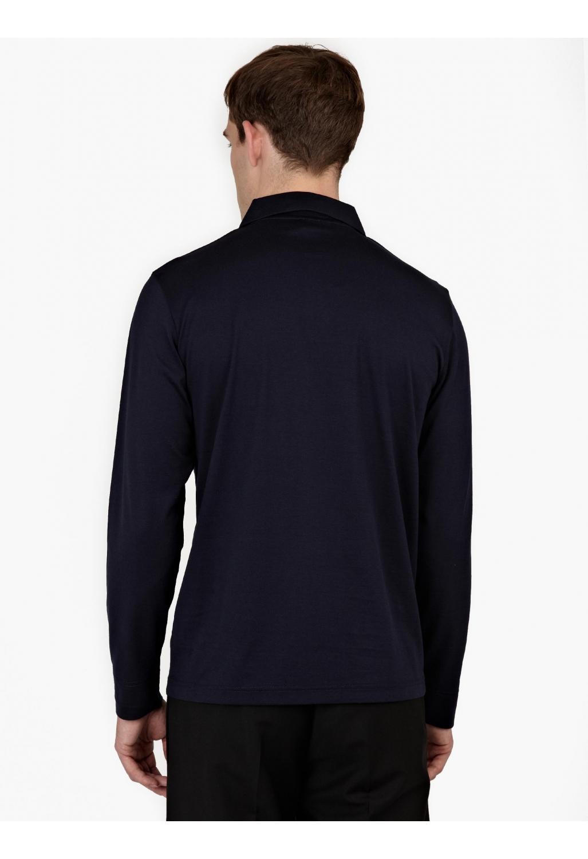 Sunspel Navy Long Sleeved Cotton Polo Shirt In Blue For Men