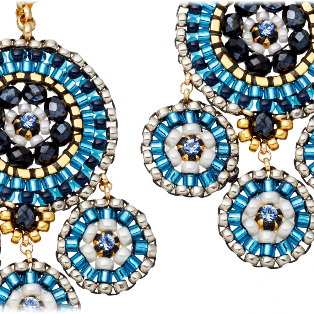 lyst miguel ases blue miyuki bead chandelier earrings in
