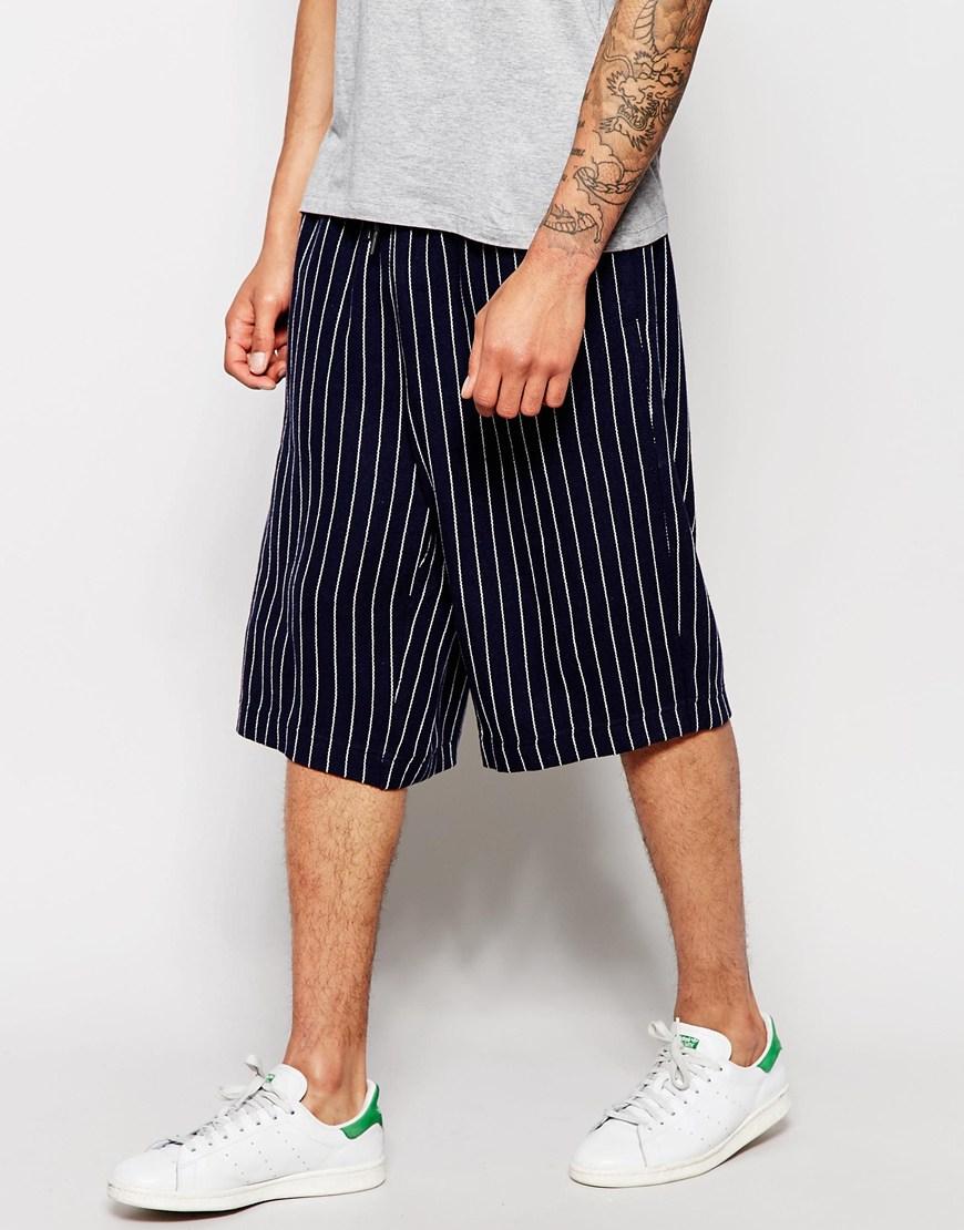 Asos Wide Leg Shorts In Wool Mix Pinstripe in Blue for Men | Lyst