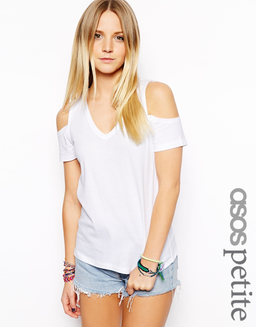 b392ce735553d Lyst - ASOS Exclusive V-Neck T-Shirt With Cold Shoulder in White