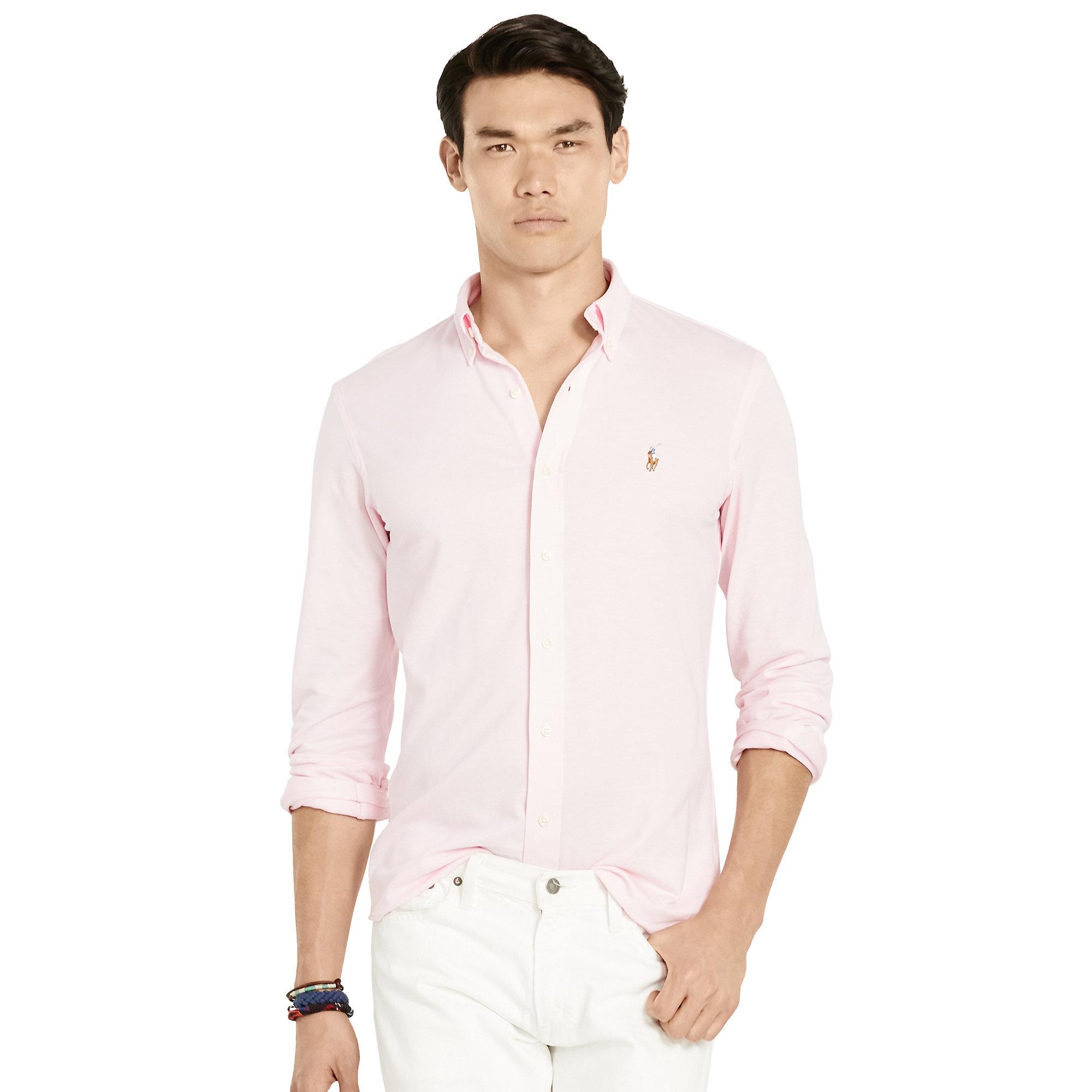 70654735d508af Polo Ralph Lauren Slim-fit Knit Oxford in Pink for Men - Lyst