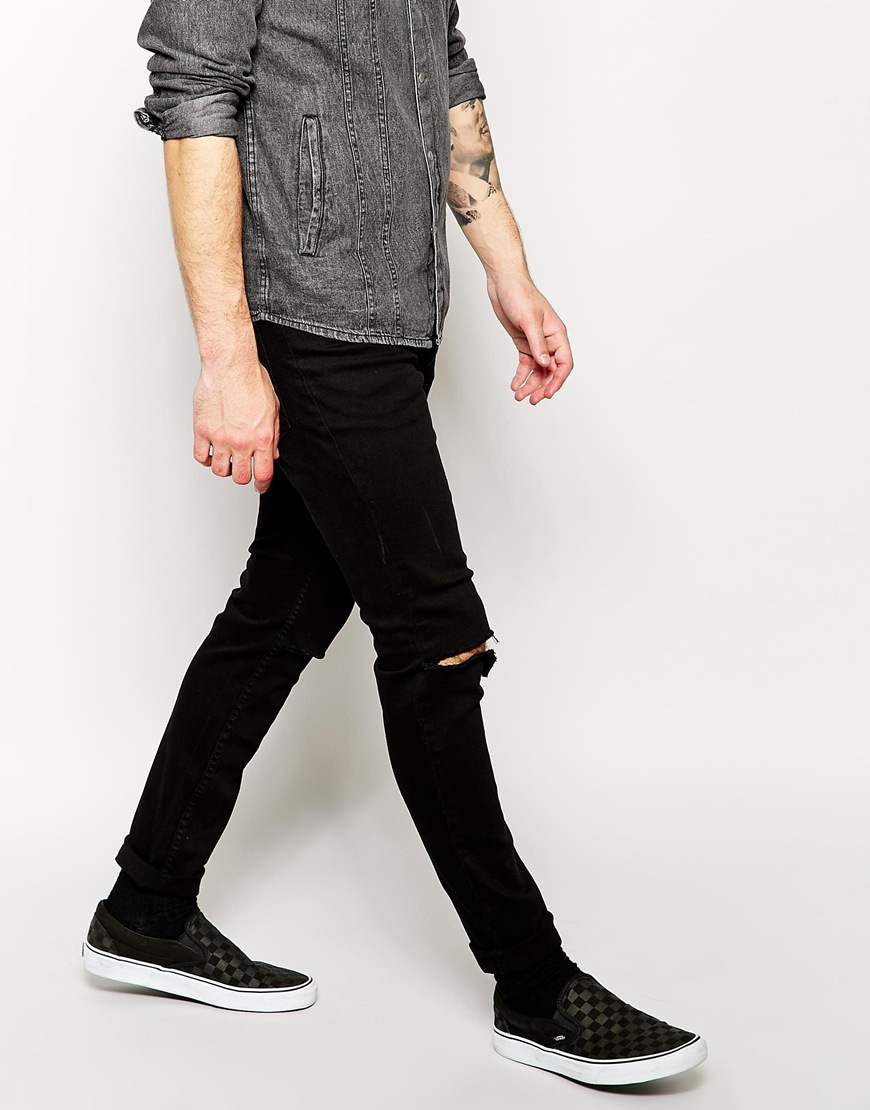 5ba53d90344 Lyst - Cheap Monday Exclusive Tight Skinny Jeans With Ripped Knee in Black  for Men