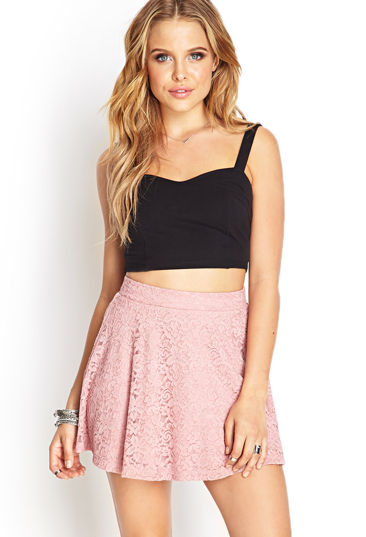 850091e0ee Lyst - Forever 21 Floral Lace A-line Skirt in Pink