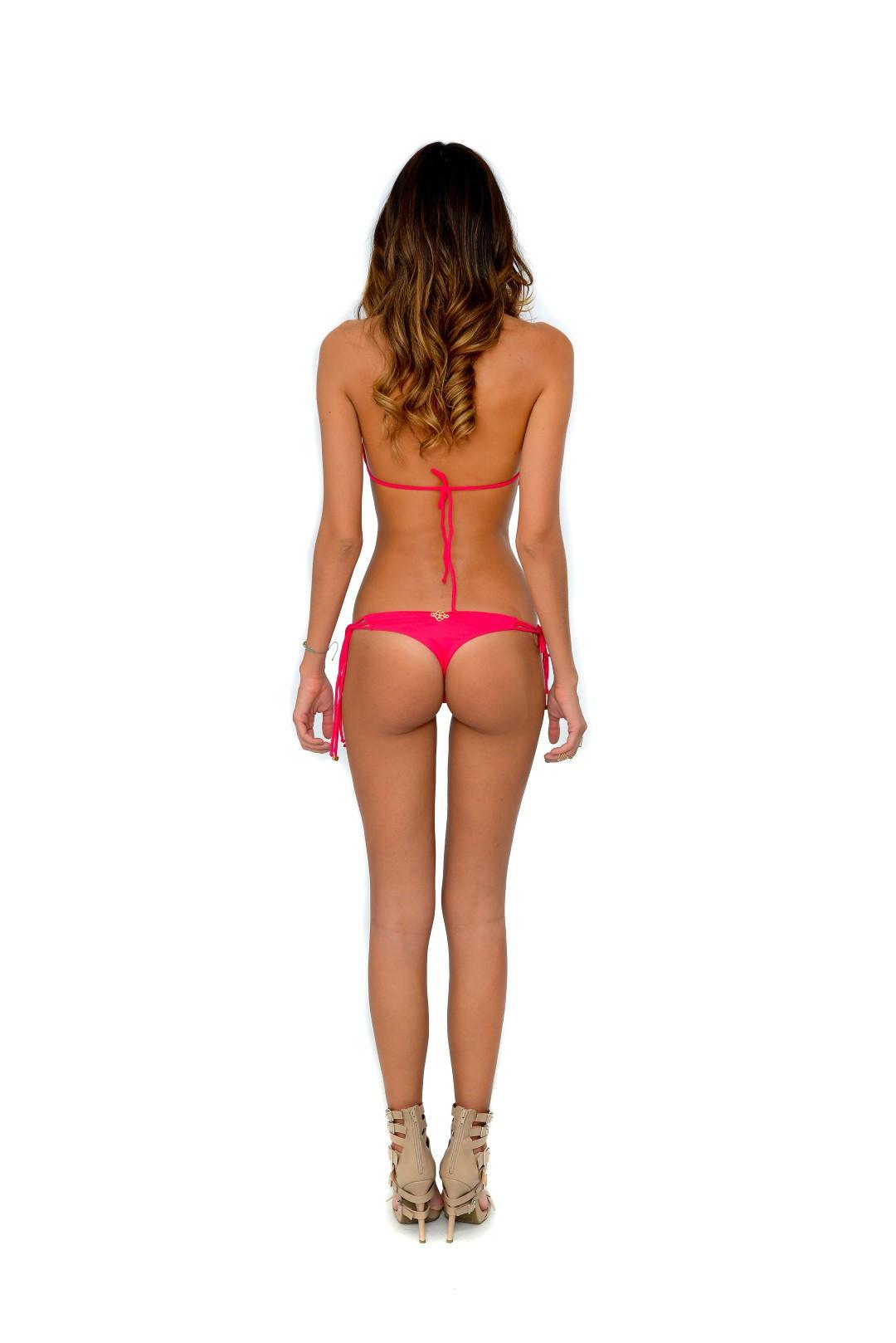 del mar aurora strings triangle bikini top in sherbet in red lyst