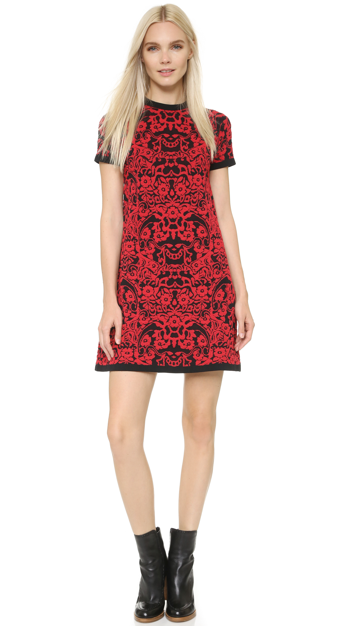 M missoni Short Sleeve Dress - Red in Black - Lyst