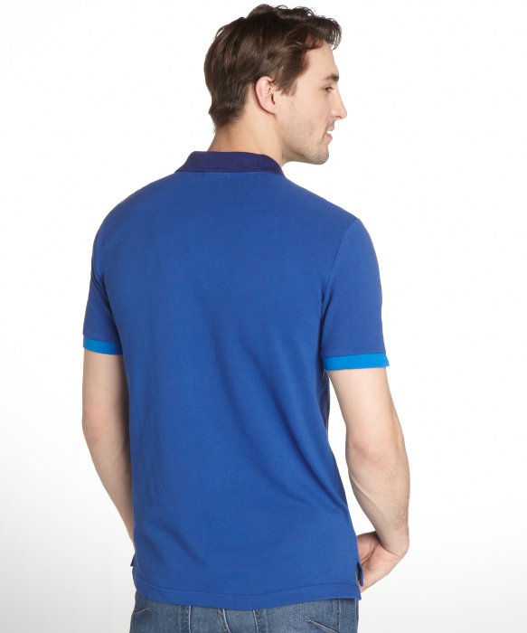 Burberry bright cobalt blue cotton polo shirt in blue for for Cobalt blue polo shirt