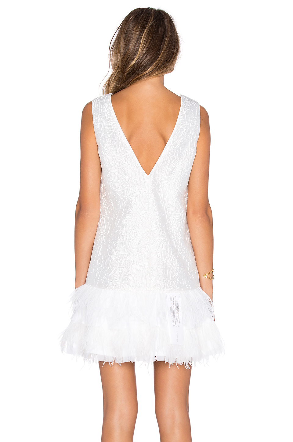 BCBG White Feather Dress