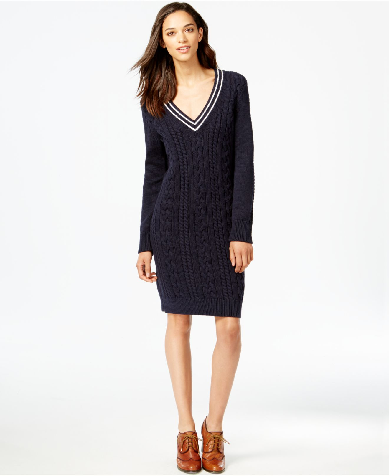 Tommy hilfiger Cable-knit V-neck Sweater Dress in Blue | Lyst