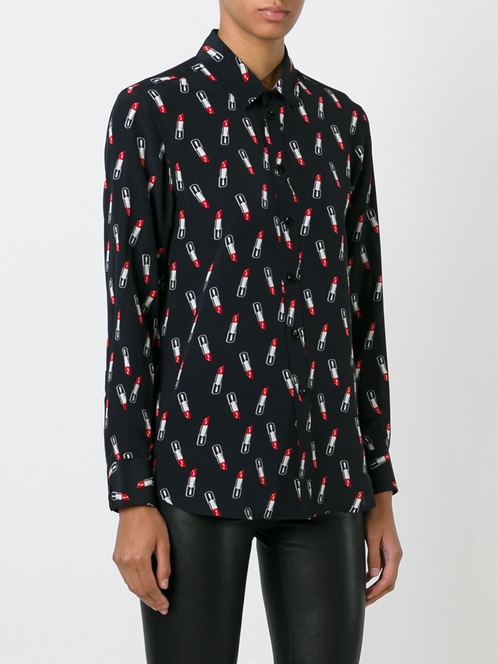 Saint Laurent Lipstick Print Blouse In Red Black Lyst