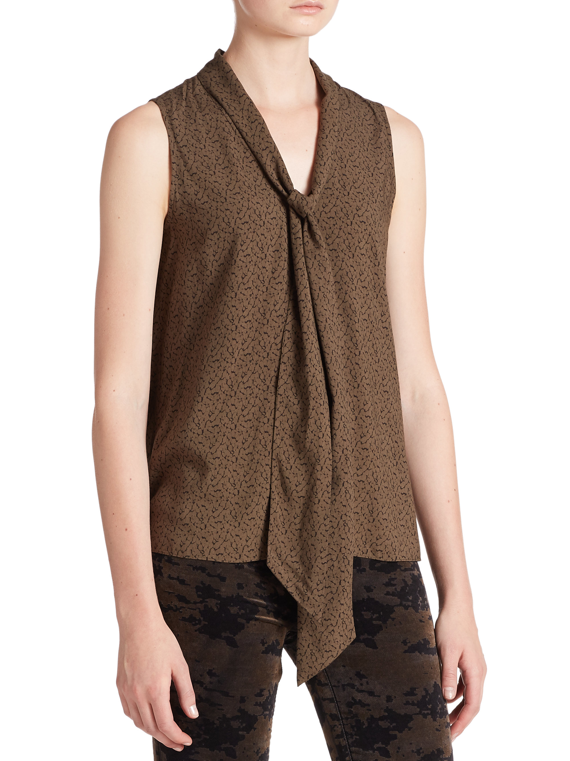 decfd7f1e50d8c Lyst - J Brand Giovanna Printed Sleeveless Tie-neck Blouse in Brown